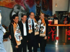 HSH Princesse Stephane of Monaco, Artist Eric Brocchi, SAS Prince Albert of Monaco and HSH Princesse Charlene of Monaco